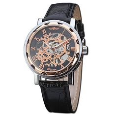 Fashion Black Mechanical Transparent Mens Watch with Pin Buckle and Rose Gold Bezel * Find out more about the great product at the image link.