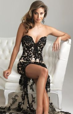 Black Nude Night Moves High Low Dress 6724 [high low prom dress] - $296.00
