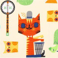 light yellow animal fabric Jazz Band cat owl Robert Kaufman