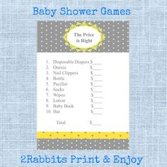 The Price is Right - Printable Baby Shower Game- Instant Digital Printable- Yellow,Grey Polka Dot Background - Victorian Shape on Top #yellowgraybabyshowergames #thepriceisrightgame #diybabyshower #diyprintablegames