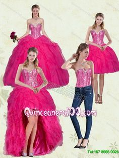 New Arrival Hot Pink Sweetheart Quinceanera Dresses with Ruffles and Beading 2015 Detachable Quinceanera Dress 2015 Quinceanera Package