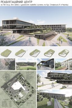 Rehabilitation center on Behance Hospital Architecture, Library Architecture, Landscape Architecture Design, Green Architecture, Architecture Portfolio, Rendering Architecture, Public Architecture, Architecture Diagrams, Concept Board Architecture