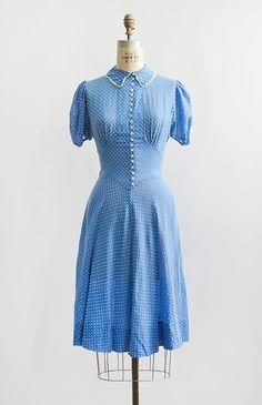 vintage 1930s sky blue flocked swiss dots dress