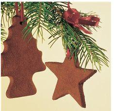 Cinnamon Ornament Recipe - 1 cup of Cinnamon, 3/4C Applesauce, 2 TBS Regular Elmer's School glue...mix cinnamon & applesauce...add glue...roll out...cut with cookie cutters...add hole...dry 48 hours