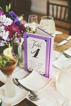 book table numbers and they're PURPLE! yay.  http://www.weddingchicks.com/2013/11/14/vegan-wedding/