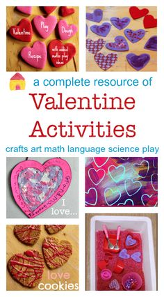 A complete resource of Valentine crafts and activities :: math, science, language, art, craft, play, sensory, recipes