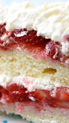 Strawberry Cake ~ Healthier white cake with fresh strawberries and real whipped cream frosting... OMG!
