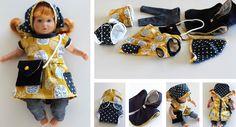 Puppenkleidung: Kleid 'Lisabeth' - Fabelwald (verkleinert) Leggings Puppenliebe - RosaRosa Tasche, Kopftuch, Poncho und Windeln - Liivi&Liivi