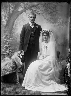 Wedding portrait, circa 1909, taken by James McAllister. Shows a bride and groom, possibly Mr and Mrs Catenby.
