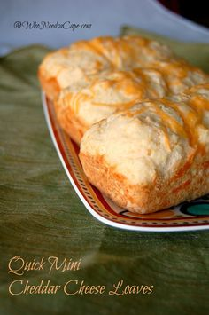Quick Mini Cheddar Cheese Loaves are a snap to make - have home made bread on the table in 30 minutes! Perfect addition to dinner!