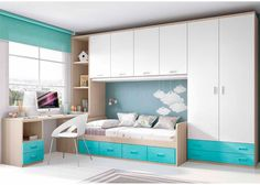 غرفة نوم بسيطة للأطفال و الشبان Habitación Infantil: Dormitorio infantil con armario y altillo Small Bedroom Designs, Small Room Design, Small Room Bedroom, Kids Room Design, Girls Bedroom, Kids Bedroom Furniture, Bedroom Decor, Bedroom Storage, Girl Room