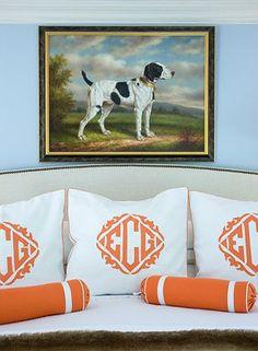 Liz Caan - orange and white monogram pillows, orange and white bolster pillows, dog painting, BM Breath of Fresh Air walls