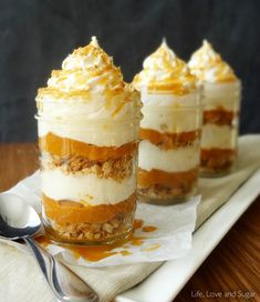 This pumpkin pie recipe had me at no bake …   but then …   then as I kept on reading, there was mention of a cream cheese mousse.   Um, yum!   And, yes!   And, can I have seconds?!?   Just in time for Thanksgiving, Lindsay at Life, Love … and Sugar has …