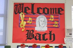 September - Welcome Back! (Bach) - The Musical Way.I also like the treble clef made of ribbon! Music Lesson Plans, Music Lessons, Teaching Music, Preschool Music, Preschool Bulletin, Music Activities, Teaching Resources, Teaching Ideas, Choir Room