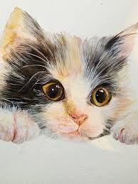looks-like-my-favorite-cat - Aquarell - Katzen Watercolor Cat, Watercolor Animals, Watercolor Paintings, Cat Drawing, Painting & Drawing, Animal Paintings, Animal Drawings, Gato Animal, Image Chat