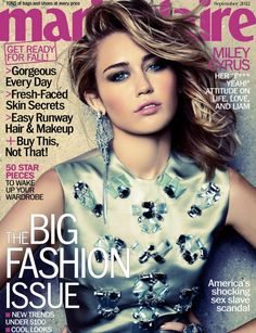 Miley Cyrus goes bejewelled for the cover of Marie Claire US, September 2012