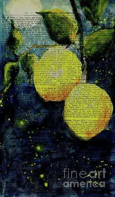 Imaginative watercolor on antique book page - lemons in the moonlight!
