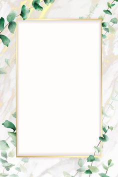 Hand drawn eucalyptus leaf with rectangle gold frame template vector Flower Background Wallpaper, Framed Wallpaper, Flower Backgrounds, Iphone Wallpaper, Leaf Background, Watercolor Background, Wallpaper Space, Textured Background, Leaf Template