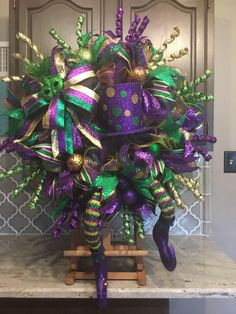 This item is unavailable Mardi Gras Wreath, Mardi Gras Swag , Mardi Gras Decor , Mardi Gras Decorations Mardi Gras Food, Mardi Gras Carnival, Mardi Gras Party, Mardi Gras Centerpieces, Mardi Gras Decorations, Christmas Centerpieces, Holiday Decorations, Mardi Gras Outfits, Mardi Gras Costumes