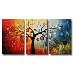 Add colorful whimsy to your walls with this three-piece tree canvas art. This oversized canvas art depicts a tree with vibrant multicolored ornaments against a color-shifting background. This contemporary painting arrives gallery wrapped on canvas.