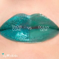 Compare Ocean Gem vs. Snow Cone LipSense using this photo. Ocean Gem is part of the Intense Hues Collection by SeneGence.