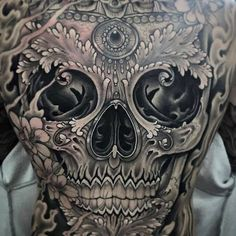 Sugar Skull Tattoo On Full Back by Antony Flemming