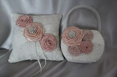 Romantic Cream and Lace Ring Bearer Pillow and Flower Girl