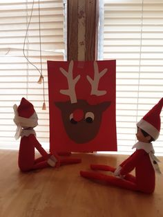 Elves play pin the red nose on Rudolf. Christmas With The Kranks, Christmas Holidays, Xmas, Holiday Fun, Holiday Decor, Festive, Christmas Art Projects, Elf Magic, Buddy The Elf