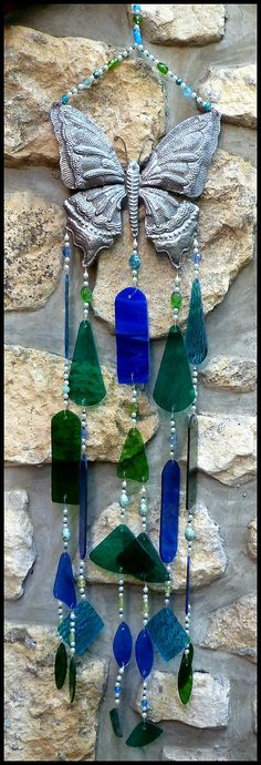 Handcrafted Stained Glass Wind Chime with Metal Butterfly Design - Sun Catcher  by StainedGlassDelight