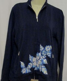 Chicos Zenergy Womens Navy Blue Sweatshirt 1 SM 8/10 Floral Crystals Zip Pockets #Chicos