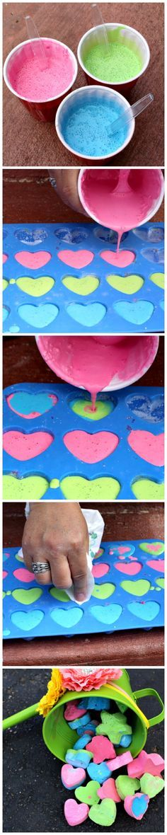 DIY Sidewalk Chalk -- Easy, fun and cheap to make. Kids will spend hours outside playing and drawing. Also makes great kids' party favors.