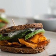 Chili Roasted Sweet Potato Sandwich with Avocado