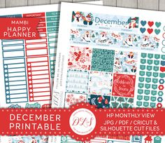 DECEMBER Monthly View Kit for Mambi Happy Planner Printable Stickers Christmas Snowman Snowflakes Red Green Blue Silhouette Cricut HPMV110 by DesignLovelyStudio