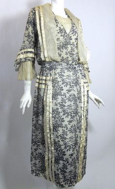 Black and White Toile Silk Lace Trimmed Dress circa early 1900s - Dorothea's Closet Vintage