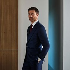 Mr Xabi Alonso for MR PORTER wearing Tom Ford Suit Jacket, Trousers and Shirt and Kingsman Tie.