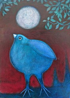 """Bird and Moon by Cathie Joy Young 7"""" by 5"""""""