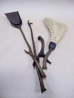 Custom, Iron, Metal, Fireplace, Tools, Antler, Broom, Poker, Shovel, Blacksmith Daniel Hopper
