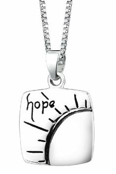 "Sterling Silver ""Hope"" Square Pendant Necklace with Sun Design, 18"" Amazon Curated Collection. Save 56 Off!. $20.00"