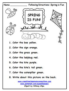 This free printable is a fun way for students to practice reading simple directions with color words and spring pictures.  Find more at pinterest.com/susankhansen/