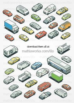All my isometric cars in one place. Download them here. (The box trucks are coming soon!)