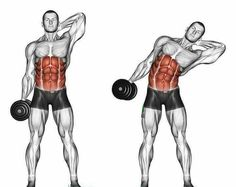 Side slopes of standing. Side slopes of standing. Exercising for bodybuilding. Target muscles are marked in red. Initial and final steps stock illustration Fitness Workouts, Ab Workout Men, Best Ab Workout, At Home Workouts, Fitness Tips, Fitness Motivation, Street Workout, Workout Plans, Fitness Jokes