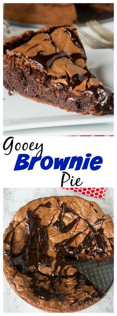Gooey Brownie Pie – a gooey chocolate brownie with a crackly top baked into a . Gooey Brownie Pie – a gooey chocolate brownie with a crackly top baked into a pie and topped w Easy Pie Recipes, Sweet Recipes, Baking Recipes, Simple Recipes, Cool Recipes, Potato Recipes, Pasta Recipes, Crockpot Recipes, Keto Recipes