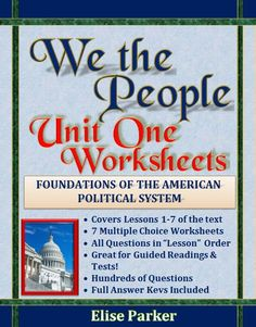 7 Comprehensive Multiple Choice Worksheets, one each for Lessons 1 through 7 of We the People -- a complete assessment solution for all of Unit 1! Goes with the high school level of We the People: The Citizen and the Constitution, a great text that places government concepts in their rich historical context! Now you can have a testing program to match the book! #wethepeople #usconstitution #civics #usgovernment #civilrights #civilliberties #stateconstitutions #americanrevolution #13colonies