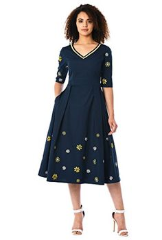 47e941d89fc579 Our floral embellished cotton poplin dress is cinched in with an  elasticated self-belt and a wide bow at the back. The princess-seamed  bodice and pleated ...