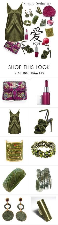 """""""Bracelets in the Garden"""" by babygirltrice ❤ liked on Polyvore featuring Gucci, Clinique, Marco de Vincenzo, Whiting & Davis, Christian Dior and Jill Stuart"""