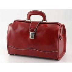RED ITALIAN LEATHER DOCTOR TRAVEL BAG MADE IN ITALY