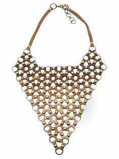CLEMMIE WATSON Leather Bib Necklace by CLEMMIE WATSON