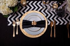 Black, White, Gold, and Chevron -- love this! /// photo credit: You're Welcome Events, California