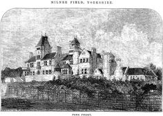 Newspaper illustration of Milner Field, Yorkshire lost West Yorkshire, Beautiful Homes, Cathedral, Nostalgia, Louvre, Architecture, Newspaper, Building, Illustration