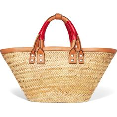 39984bd9db52 Balenciaga Bistrot Panier leather-trimmed woven raffia tote (4.040 RON) ❤  liked on